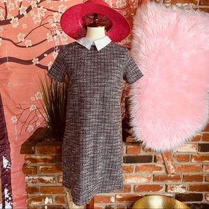 Zara Tweed Collar shift Dress S M